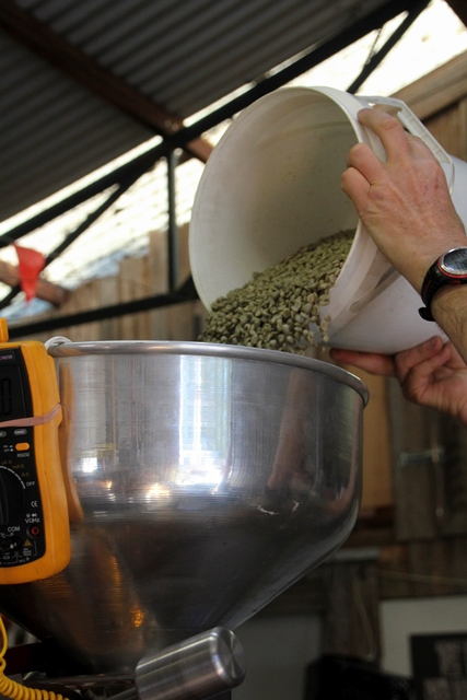 green-coffee-beans-pouring-into-hopper-of-coffee-roaster
